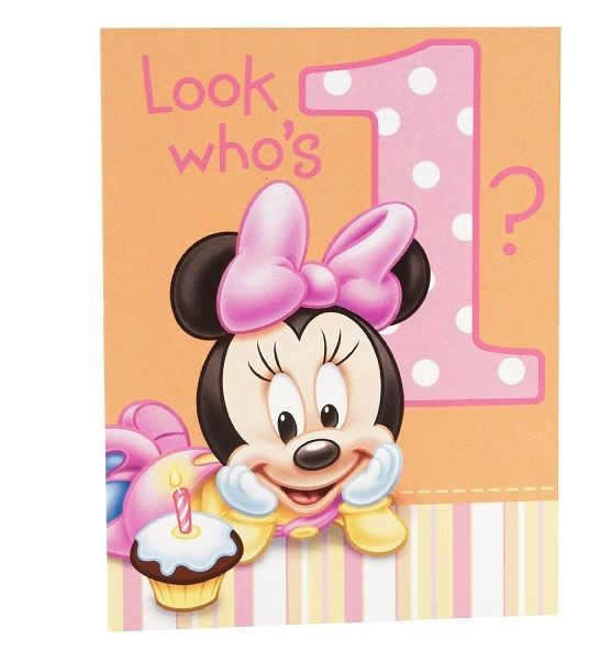 Best ideas about Minnie Mouse First Birthday Decorations . Save or Pin Disney MINNIE MOUSE 1st Birthday 8 Invitations Now.