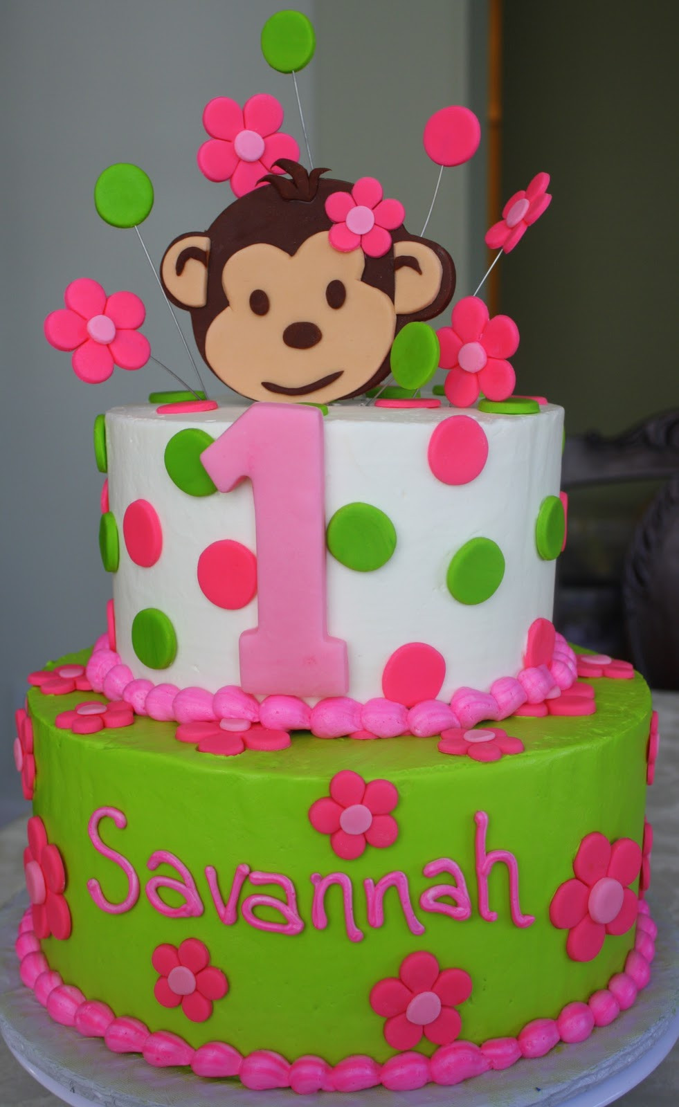 Best ideas about Monkey Birthday Cake . Save or Pin Claudine Pink Mod Monkey 1st Birthday Now.