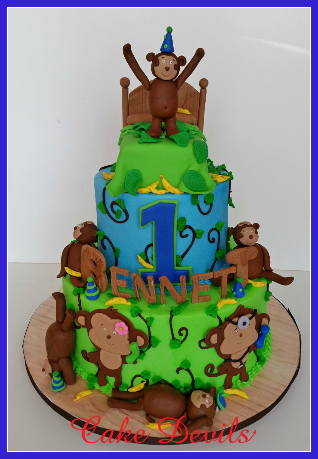 Best ideas about Monkey Birthday Cake . Save or Pin Monkey Fondant Cake topper Monkeys Jumping on the Bed Now.