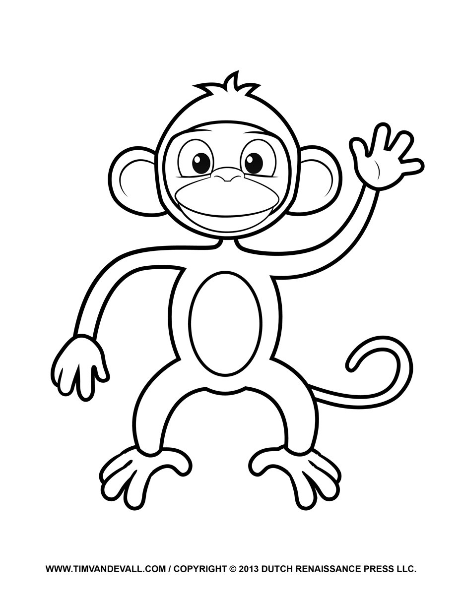Best ideas about Monkey Printable Coloring Pages . Save or Pin Printable Monkey Clipart Coloring Pages Cartoon & Crafts Now.