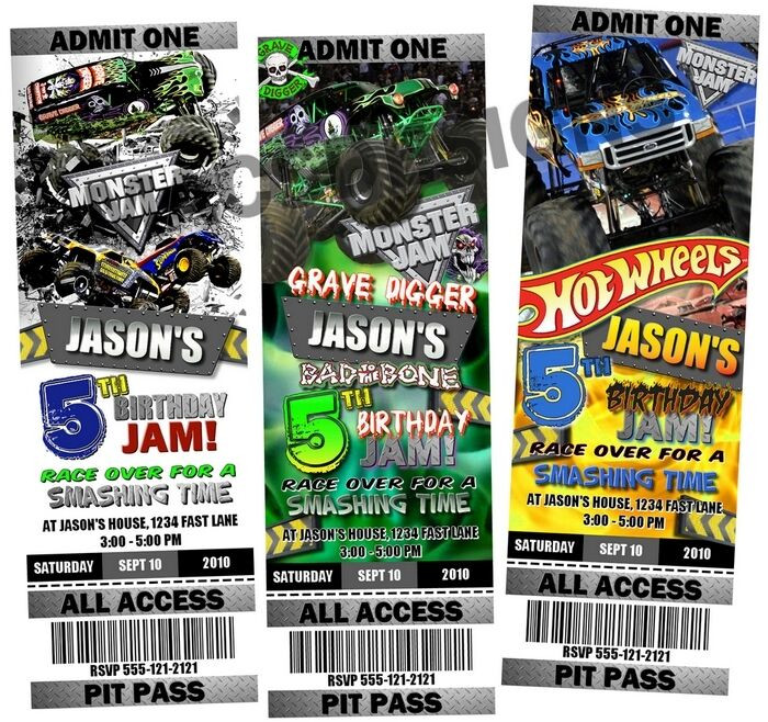 Best ideas about Monster Jam Birthday Invitations . Save or Pin Monster Truck Jam Birthday Party Ticket Invitations Now.