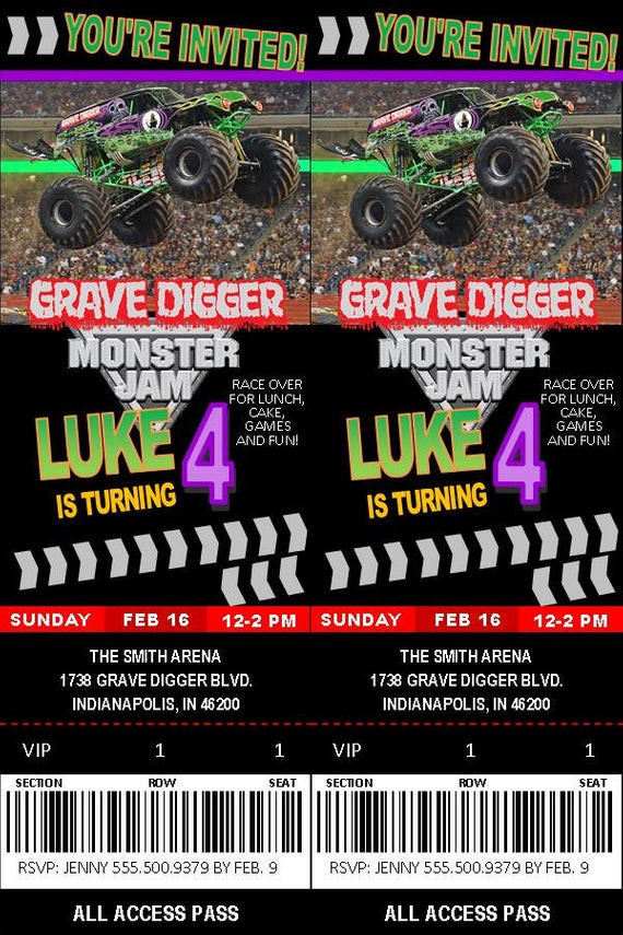 Best ideas about Monster Jam Birthday Invitations . Save or Pin Grave Digger Monster Jam Birthday Invitation by Now.