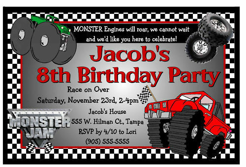 Best ideas about Monster Jam Birthday Invitations . Save or Pin MONSTER JAM MONSTER TRUCK BIRTHDAY PARTY INVITATIONS Now.