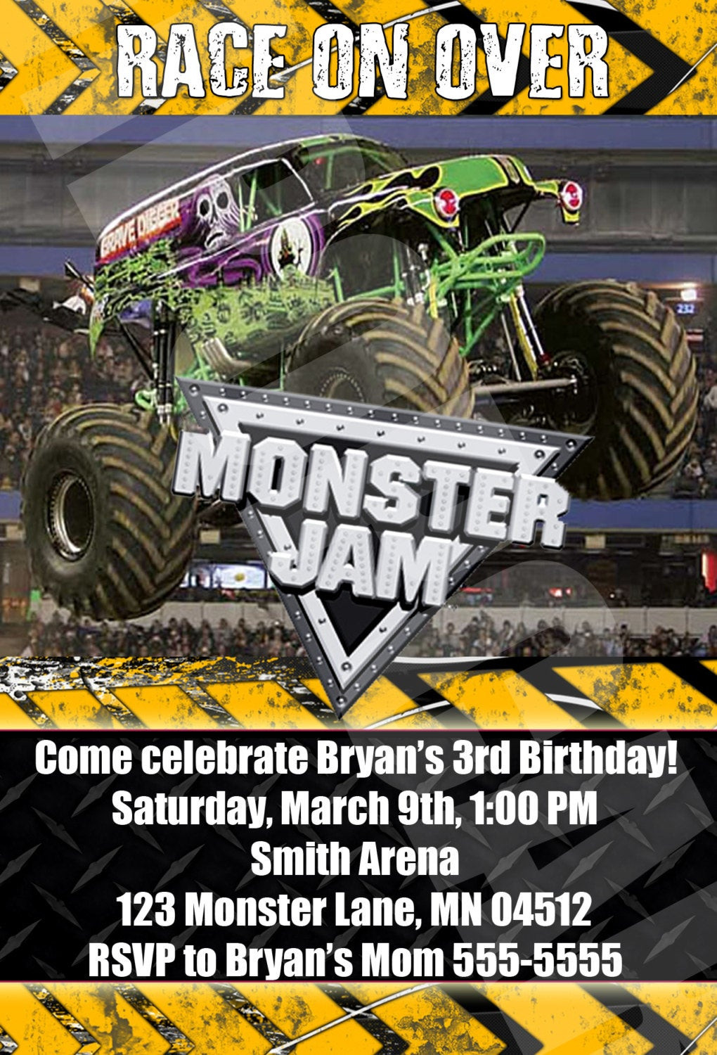 Best ideas about Monster Jam Birthday Invitations . Save or Pin Monster Jam Monster Trucks Birthday Party by DigiPopCards Now.