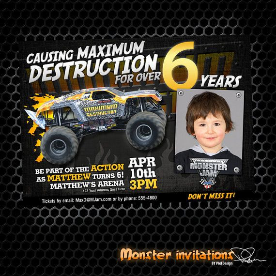 Best ideas about Monster Jam Birthday Invitations . Save or Pin Monster Truck Printable Birthday Invitation Maximum Now.