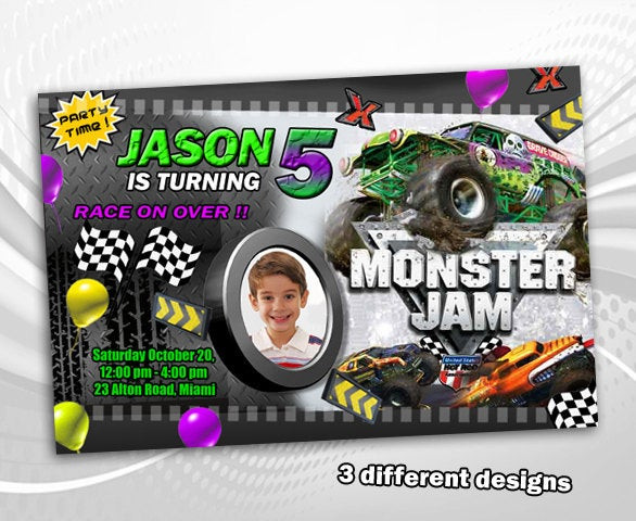 Best ideas about Monster Jam Birthday Invitations . Save or Pin Monster Jam birthday invitation party invite card printable Now.