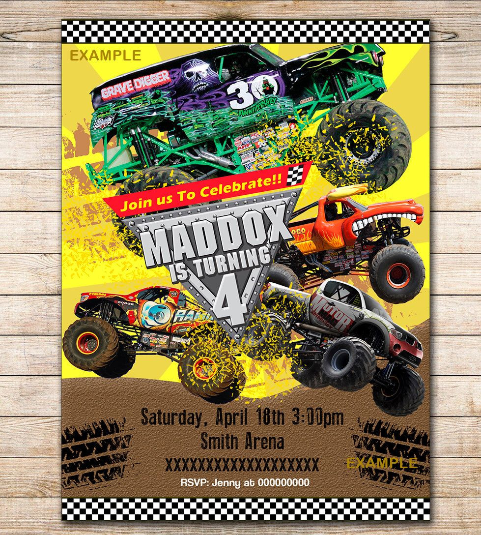 Best ideas about Monster Jam Birthday Invitations . Save or Pin Pin by Hellen Meza on 7 Now.