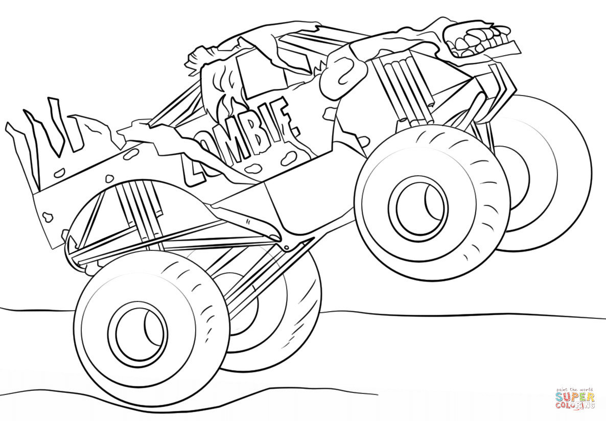 Best ideas about Monster Trucks Printable Coloring Pages . Save or Pin Zombie Monster Truck coloring page Now.