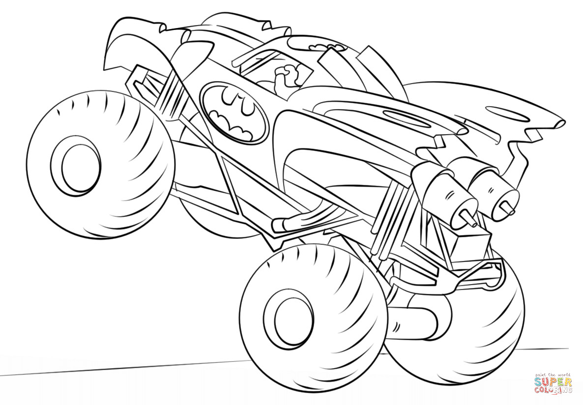 Best ideas about Monster Trucks Printable Coloring Pages . Save or Pin Batman Monster Truck coloring page Now.