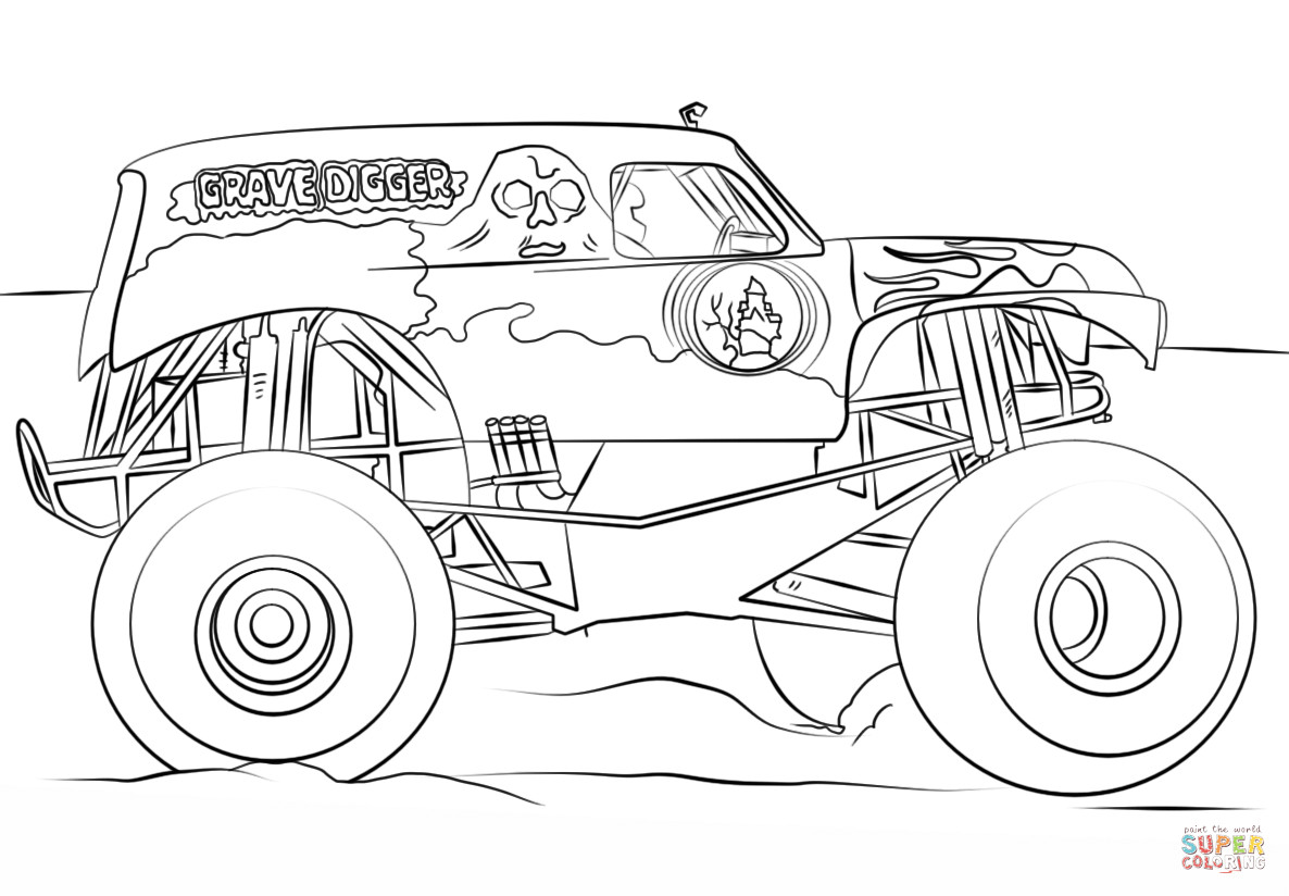 Best ideas about Monster Trucks Printable Coloring Pages . Save or Pin Grave Digger Monster Truck coloring page Now.