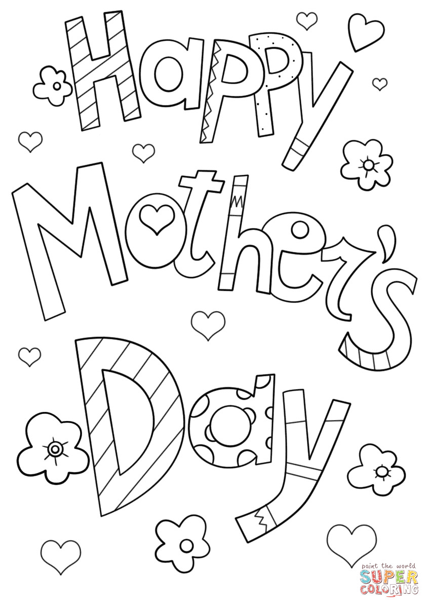 Best ideas about Mothers Day Coloring Sheets For Kids . Save or Pin Happy Mother s Day Doodle coloring page Now.