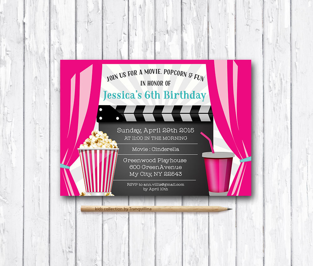 Best ideas about Movie Birthday Party Invitations . Save or Pin Movie Party Invitation Printable Movie Birthday Invitation Now.