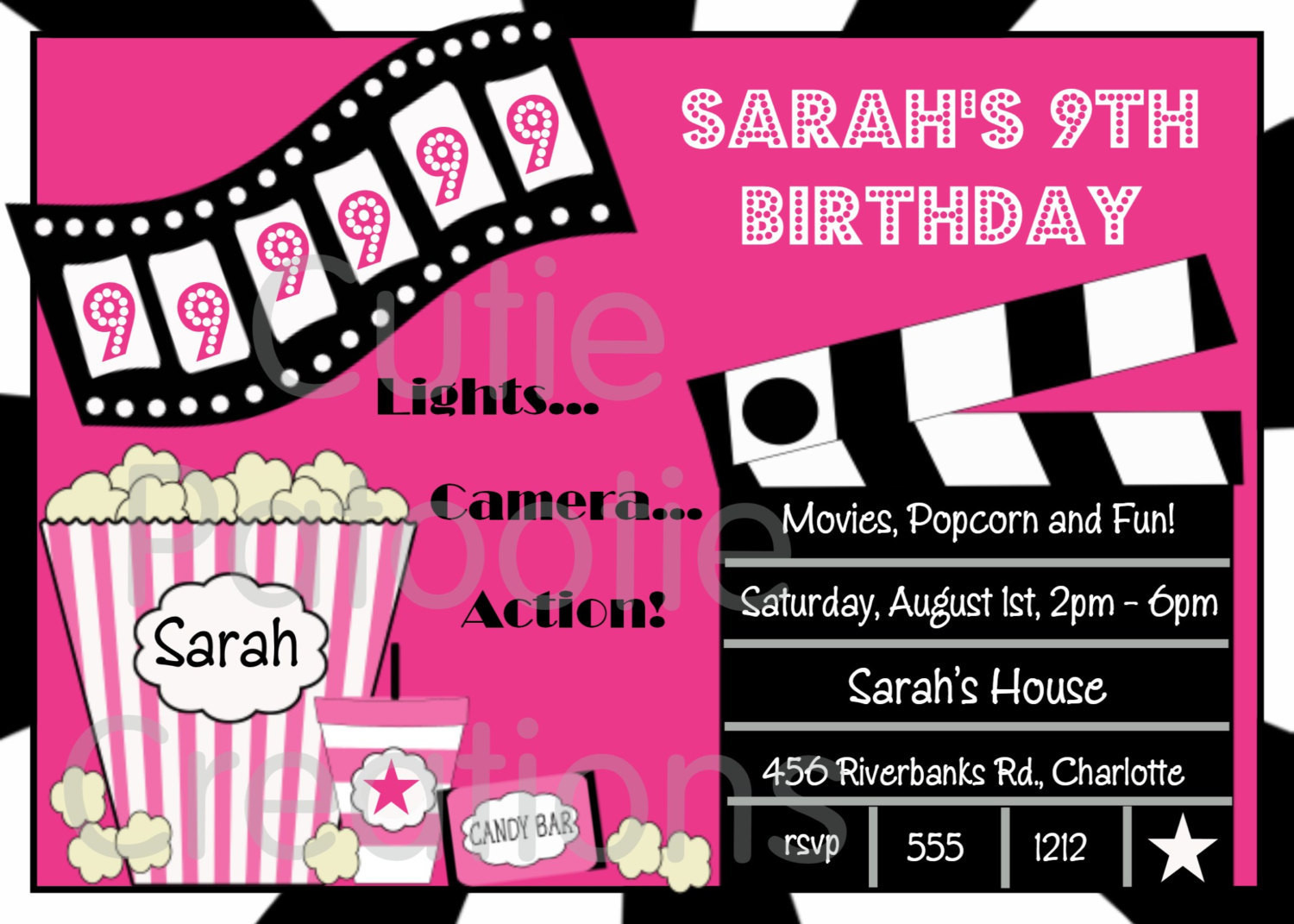 Best ideas about Movie Birthday Party Invitations . Save or Pin Movie Birthday Invitation Movie Night Party Invitations Now.