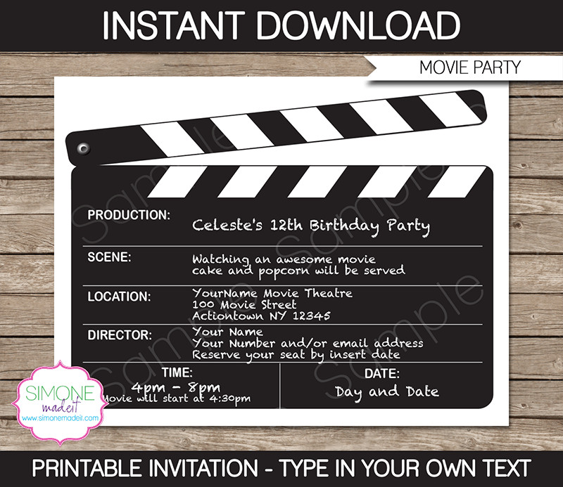 Best ideas about Movie Birthday Party Invitations . Save or Pin Movie Night Party Invitations Template Now.
