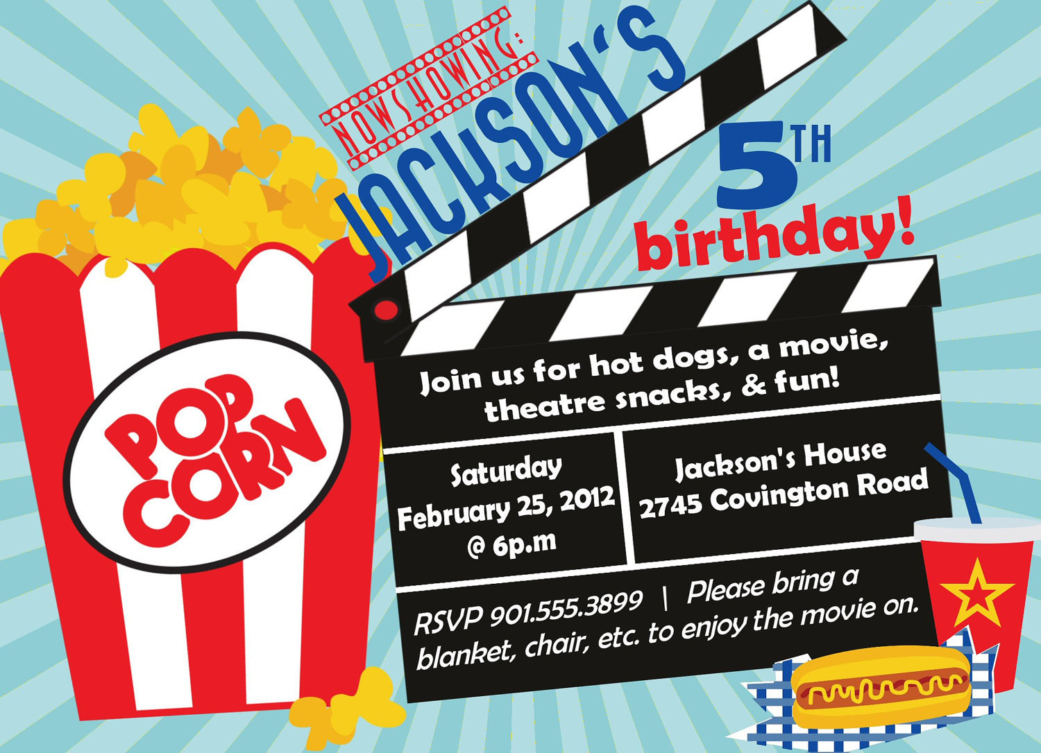 Best ideas about Movie Birthday Party Invitations . Save or Pin Movie Birthday Party Invitation Boy Birthday Invitation Now.