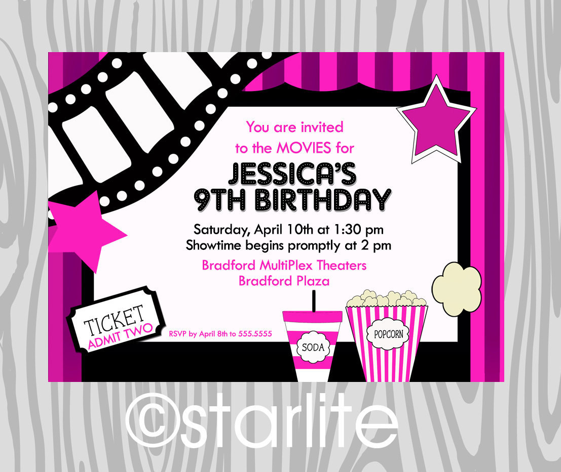 Best ideas about Movie Birthday Party Invitations . Save or Pin Movies Movie Theater Birthday Party Invitation Girl by Now.