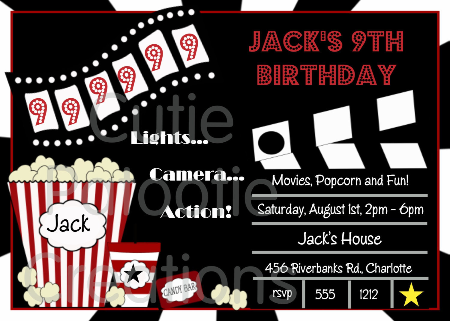 Best ideas about Movie Birthday Party Invitations . Save or Pin Movie Birthday Invitations Movie Night by CutiesTieDyeBoutique Now.