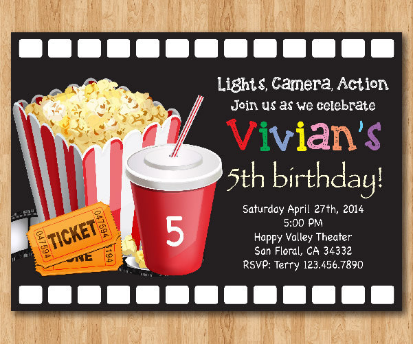 Best ideas about Movie Birthday Party Invitations . Save or Pin Movie Birthday Invitation Movie Night Birthday Party Invite Now.