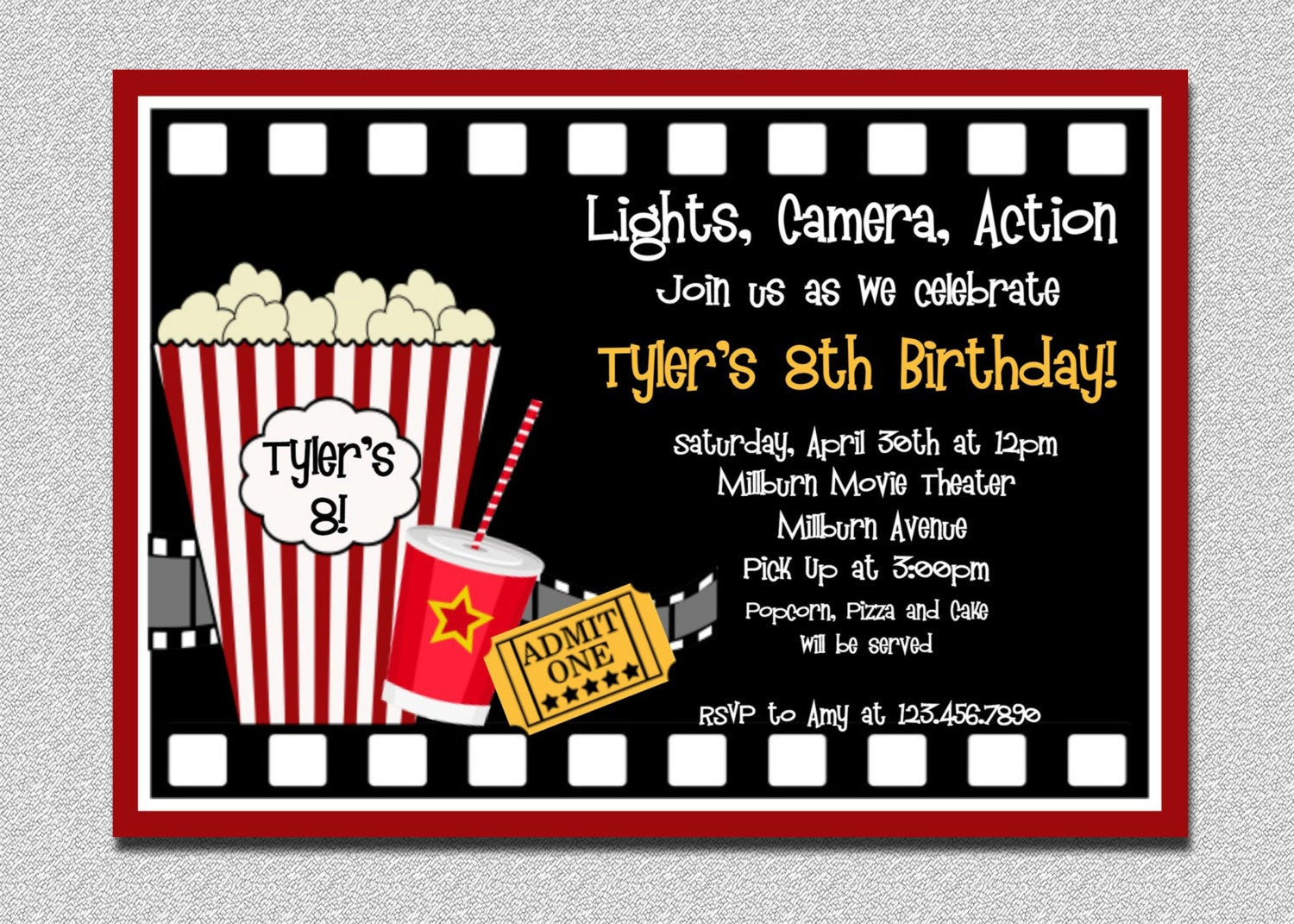 Best ideas about Movie Birthday Party Invitations . Save or Pin Movie Birthday Invitation Movie Night Birthday Party Now.