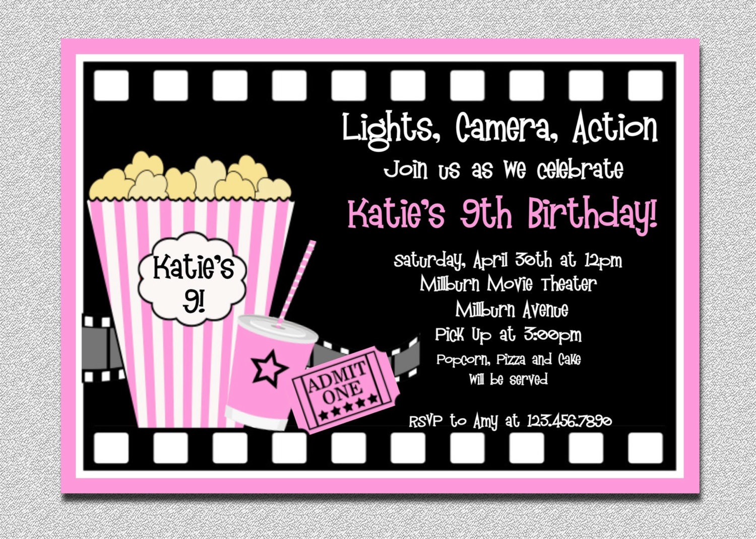 Best ideas about Movie Birthday Party Invitations . Save or Pin Movie Birthday Invitations Movie Night by TheTrendyButterfly Now.