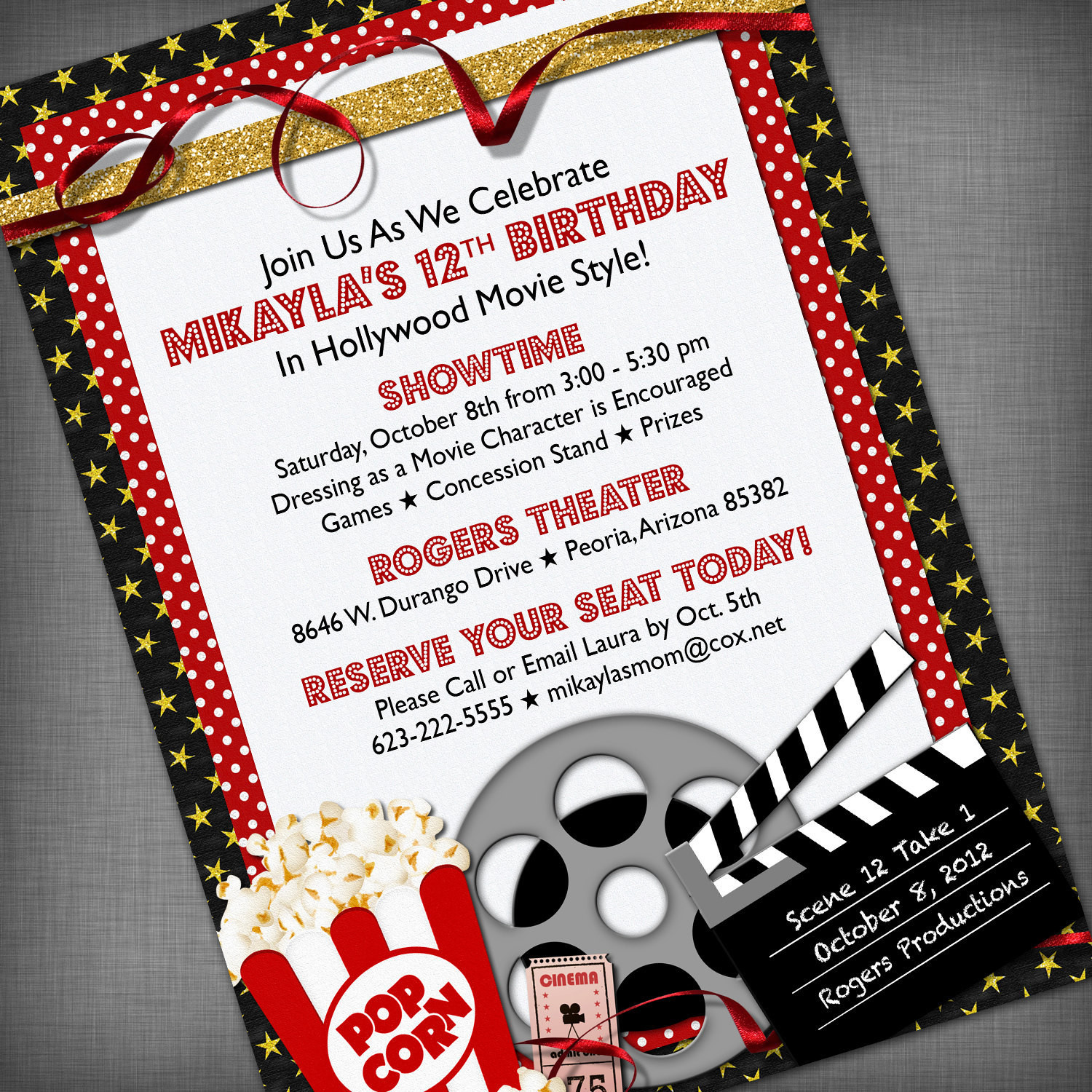 Best ideas about Movie Birthday Party Invitations . Save or Pin Movie Party Customized Printable Invitation Now.