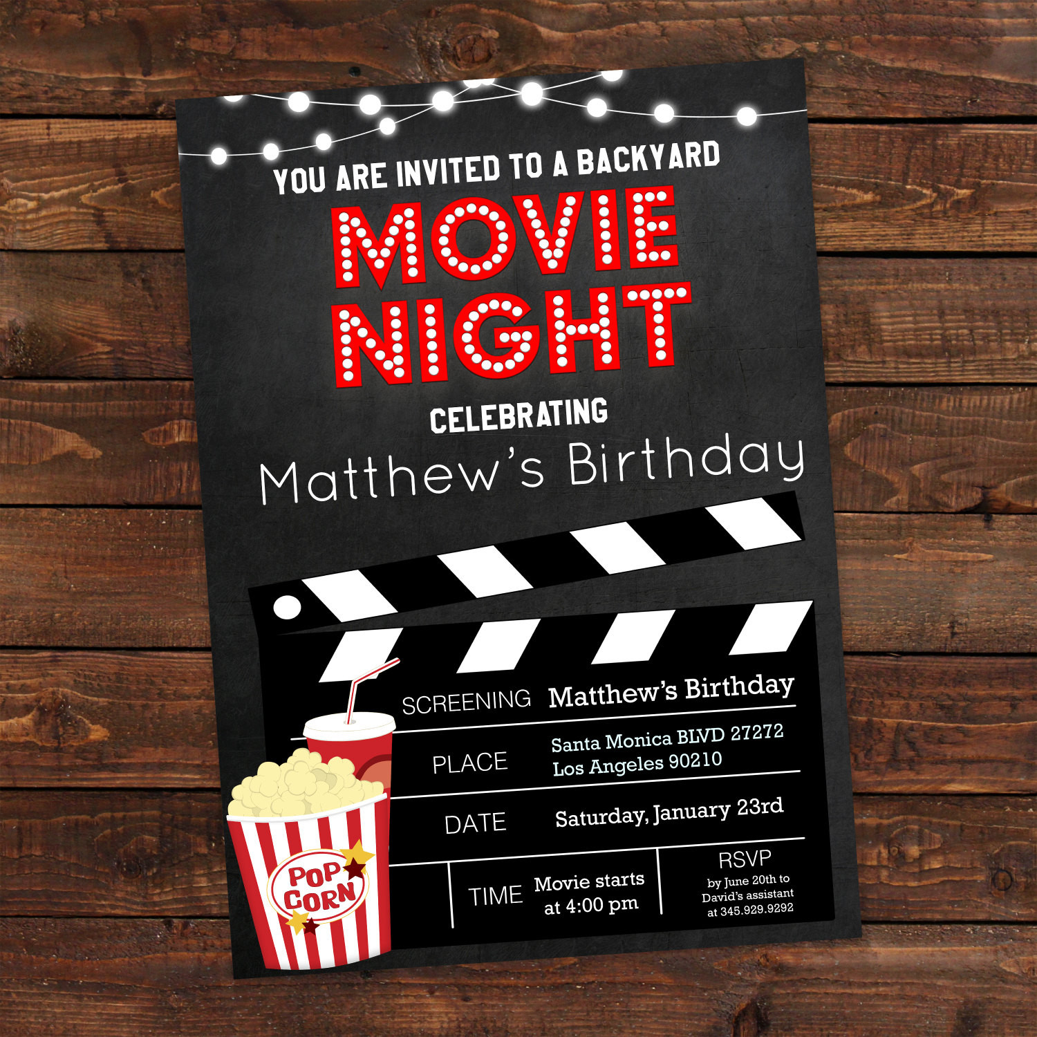Best ideas about Movie Birthday Party Invitations . Save or Pin Printable Backyard Movie Night Party Invitation Movie Night Now.