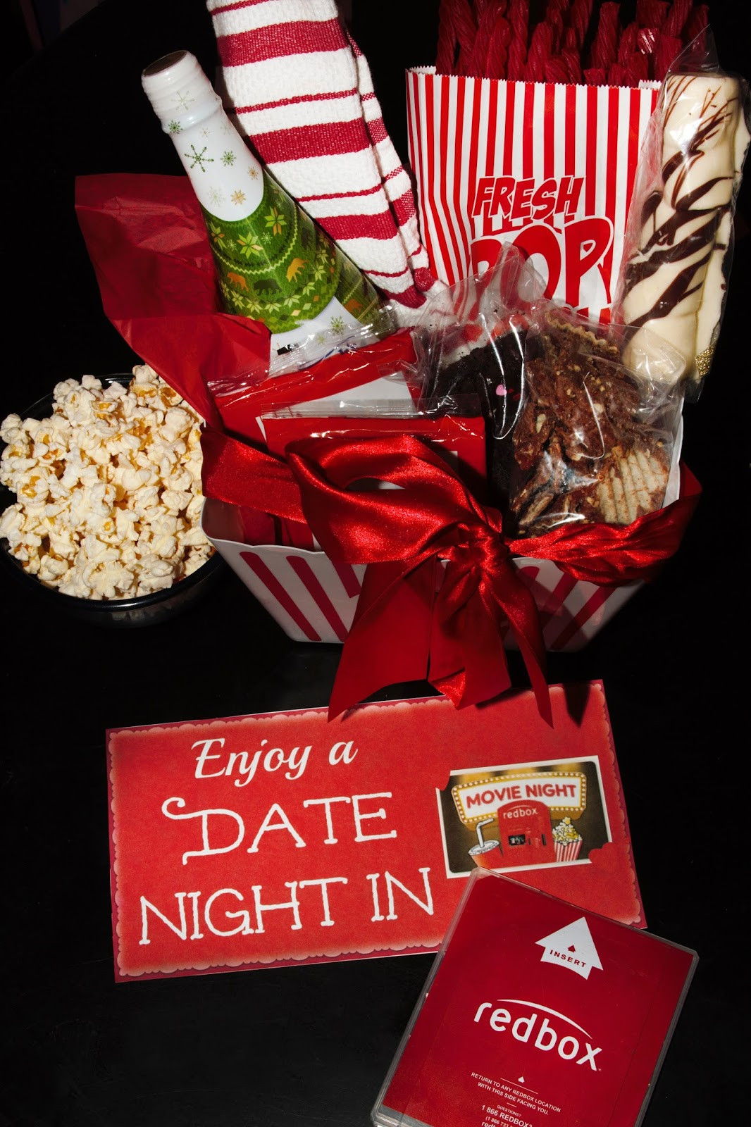 Best ideas about Movie Night Gift Basket Ideas . Save or Pin For the Love of Food DIY Date Night In Gift Basket with Now.