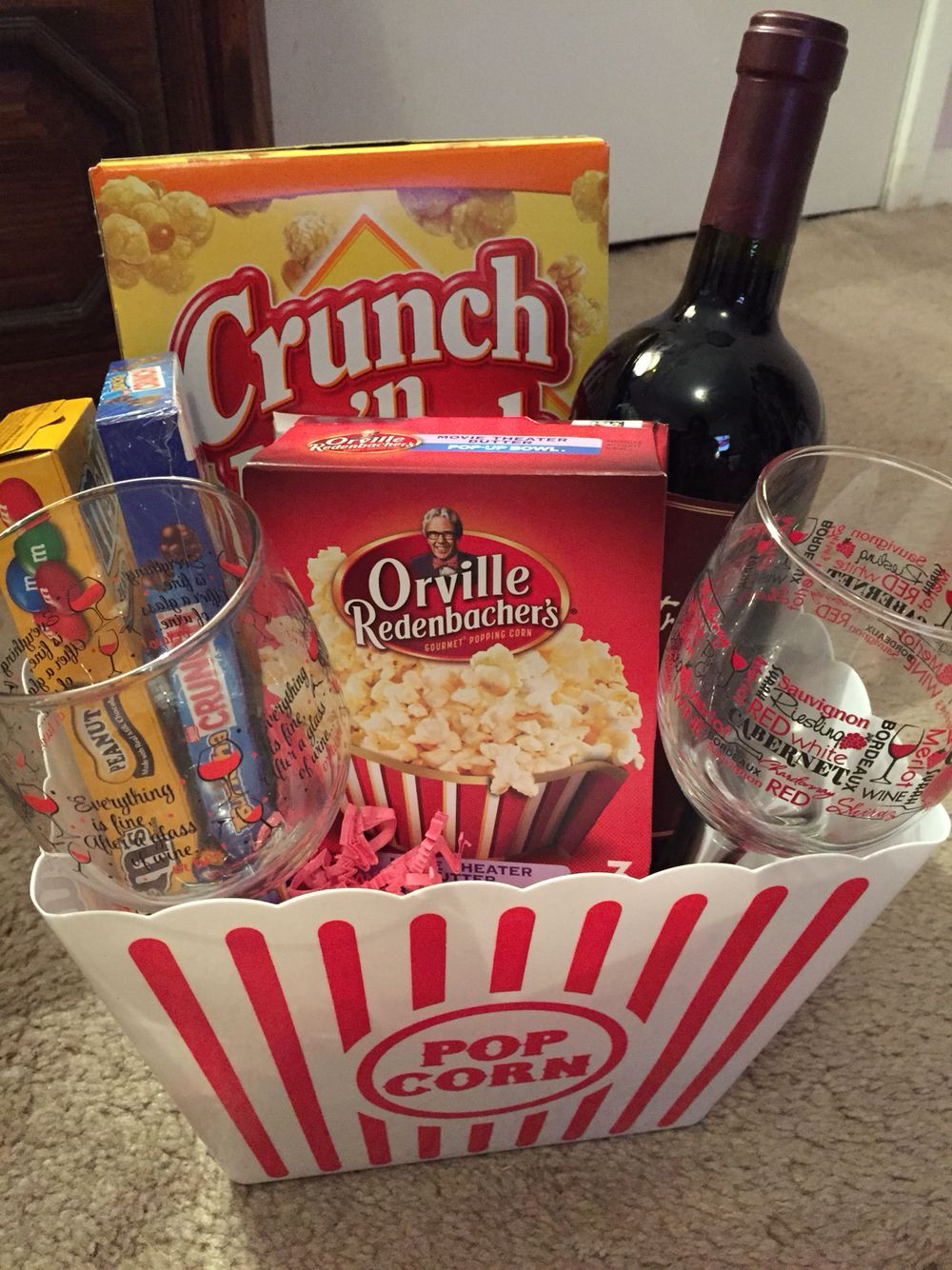 Best ideas about Movie Night Gift Basket Ideas . Save or Pin Movie night basket Gift basket ideas Christmas t too Now.