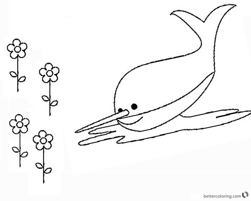 Best ideas about Narwhal Coloring Pages For Kids . Save or Pin Narwhal Coloring Pages and Flowers Free Printable Now.