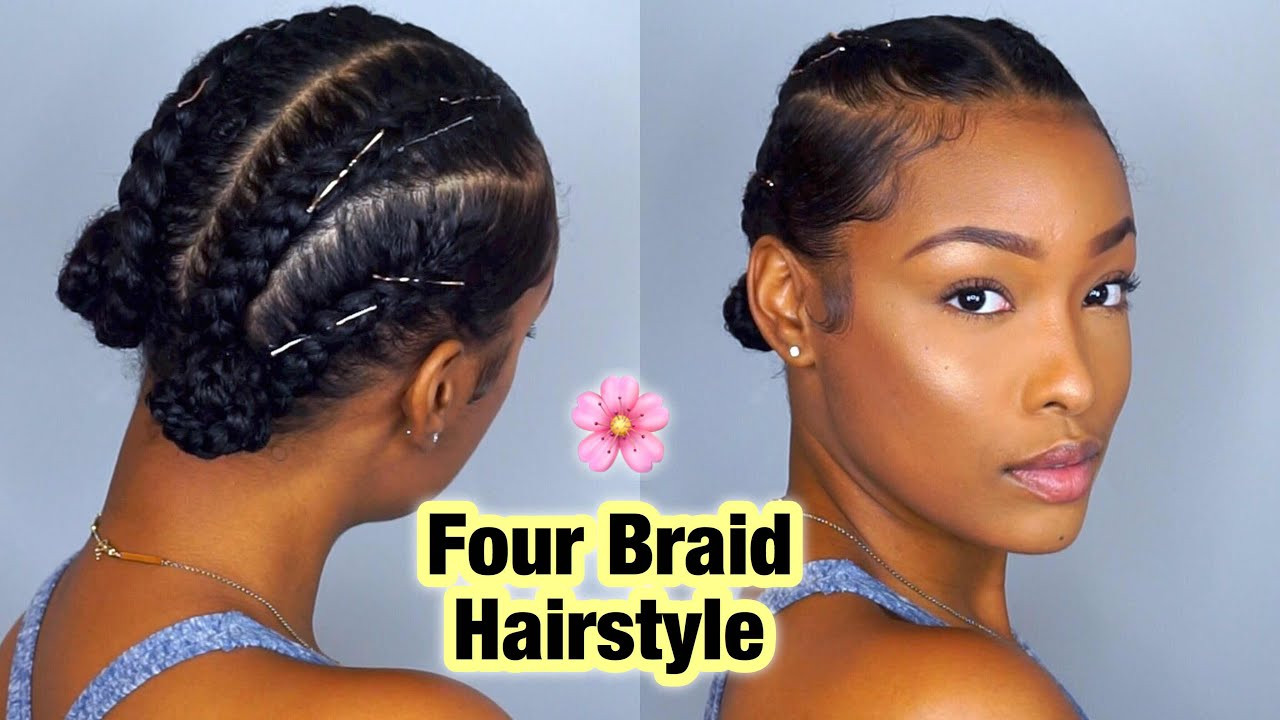 Best ideas about Natural Hairstyles Braids . Save or Pin Simple Four Braid Hairstyle For Natural Hair Now.
