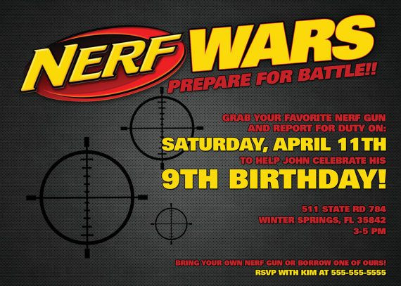 Best ideas about Nerf War Birthday Party Invitations . Save or Pin Nerf Wars Invitation 5 x 7 Digital Download PDF Now.