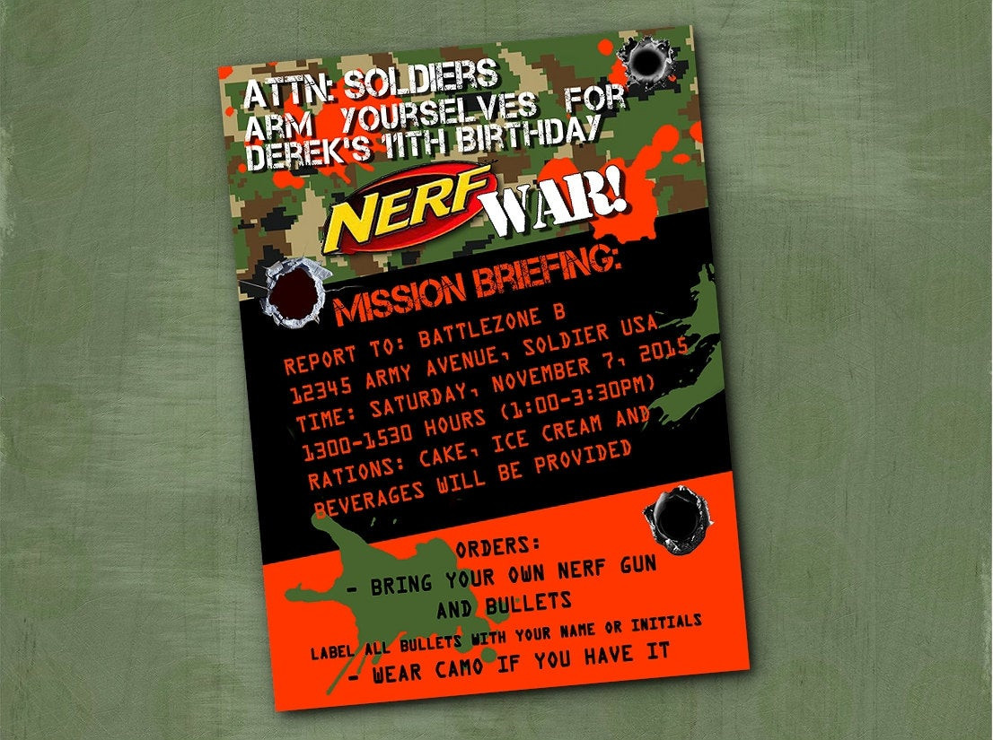 Best ideas about Nerf War Birthday Party Invitations . Save or Pin Nerf Invitation Nerf War Birthday Party by ParchmentSkies Now.
