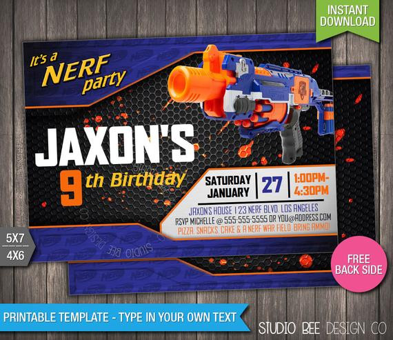 Best ideas about Nerf War Birthday Party Invitations . Save or Pin Nerf Birthday Invitation INSTANT DOWNLOAD by StudioBeeDesignCo Now.