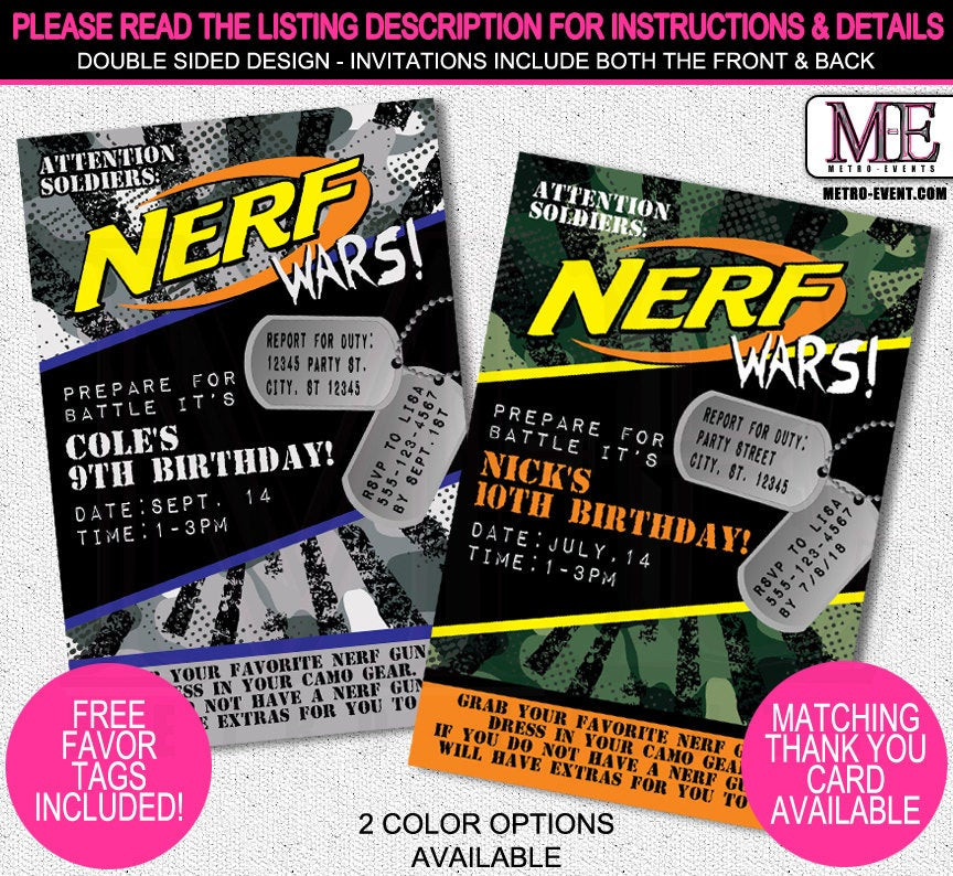 Best ideas about Nerf War Birthday Party Invitations . Save or Pin Nerf Wars Birthday Invitations Nerf Wars by MetroEvents on Now.