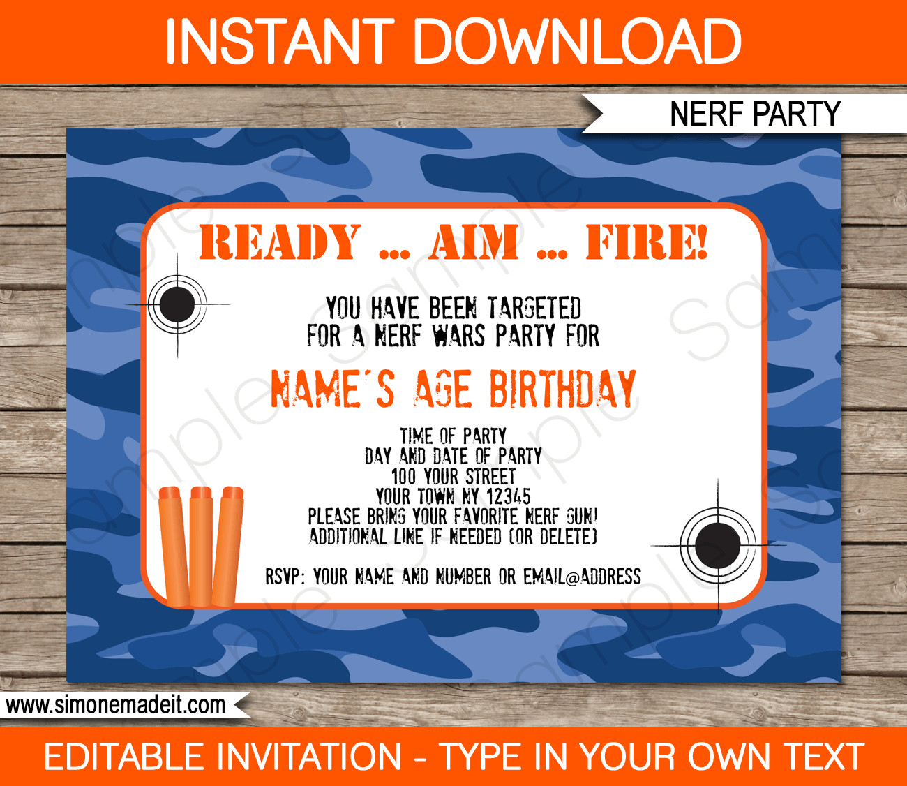 Best ideas about Nerf War Birthday Party Invitations . Save or Pin Nerf Printables Blue Camo Now.