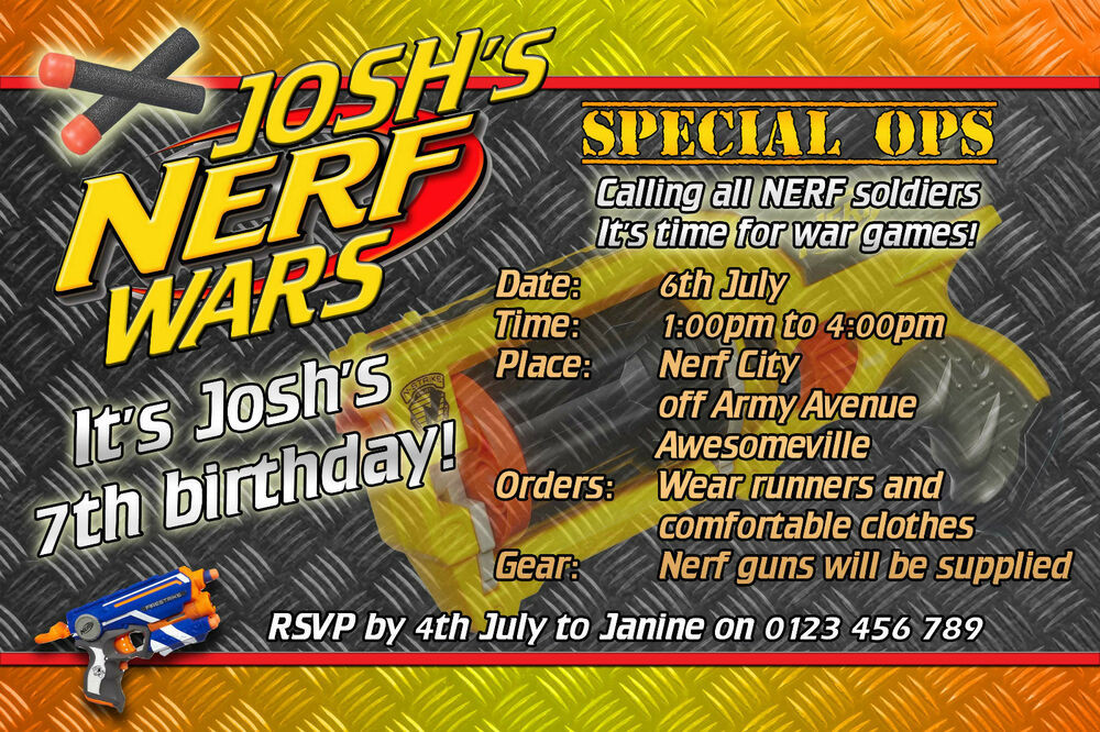 Best ideas about Nerf War Birthday Party Invitations . Save or Pin NERF Wars Nerf Army Birthday Party Invite Invitation Now.