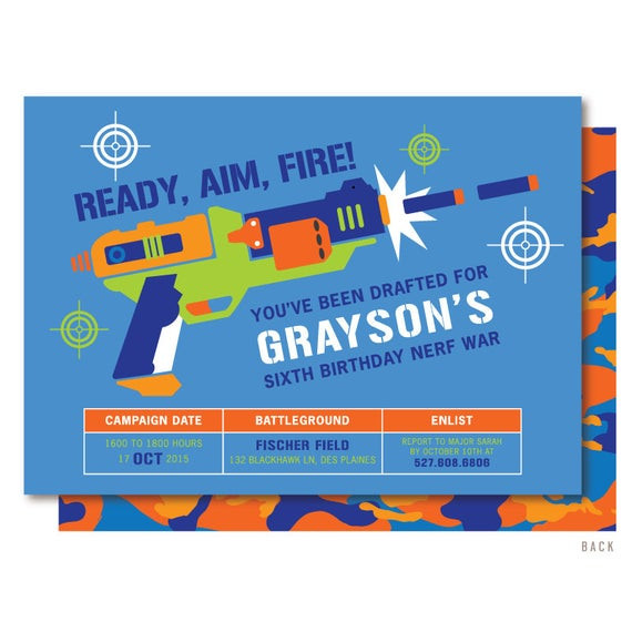 Best ideas about Nerf War Birthday Party Invitations . Save or Pin Nerf Gun Birthday Invitations Dart Wars by DelightPaperie Now.