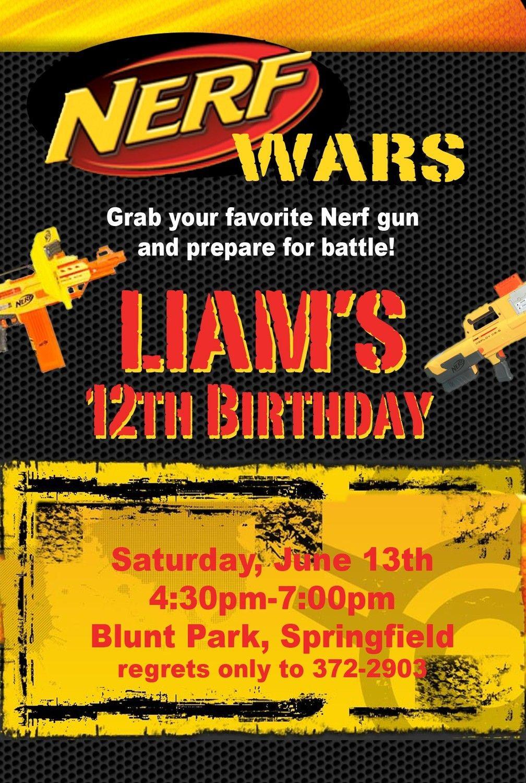 Best ideas about Nerf War Birthday Party Invitations . Save or Pin Nerf War Birthday Party Invitation Idea Now.