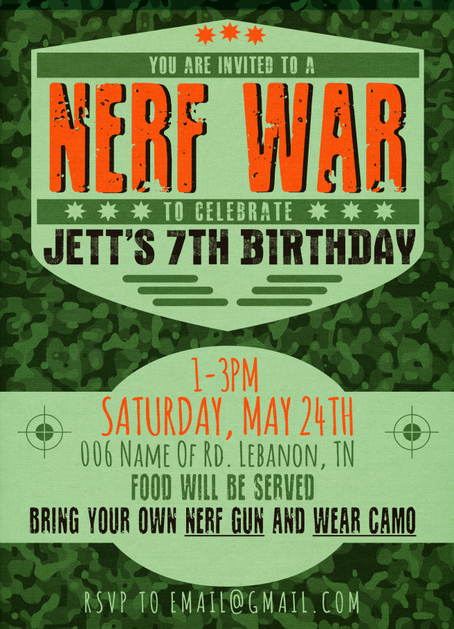 Best ideas about Nerf War Birthday Party Invitations . Save or Pin Nerf War Party Invitation Now.