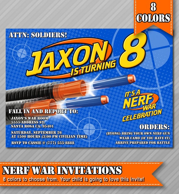 Best ideas about Nerf War Birthday Party Invitations . Save or Pin Nerf Party Invitations Nerf Wars Invitations by WolcottDesigns Now.
