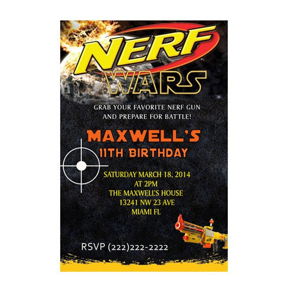 Best ideas about Nerf War Birthday Party Invitations . Save or Pin Personalized Nerf War Birthday Party Invitations Printable Now.