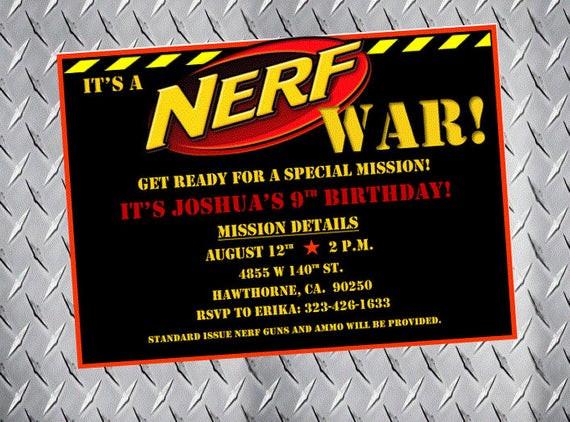 Best ideas about Nerf War Birthday Party Invitations . Save or Pin Nerf Party Invitations Nerf Birthday Invitations Nerf Bday Now.
