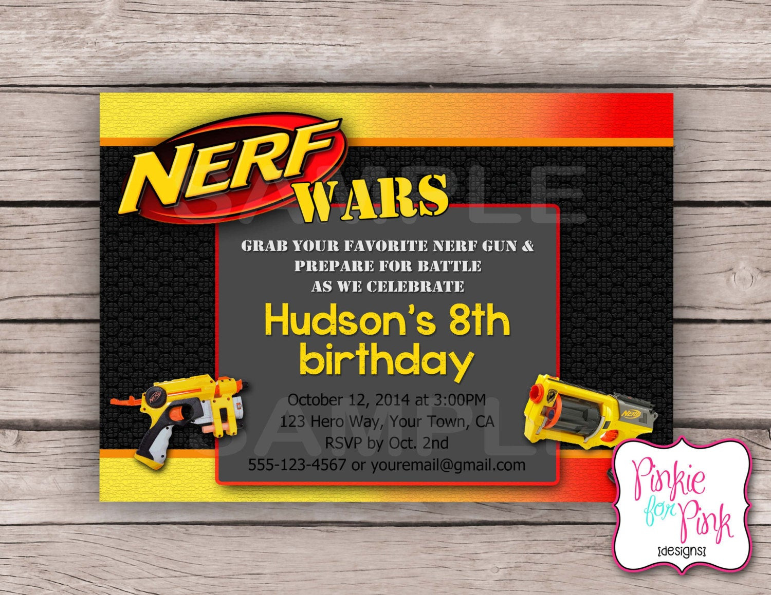 Best ideas about Nerf War Birthday Party Invitations . Save or Pin Personalized Nerf Wars Birthday Party Invitation by Now.