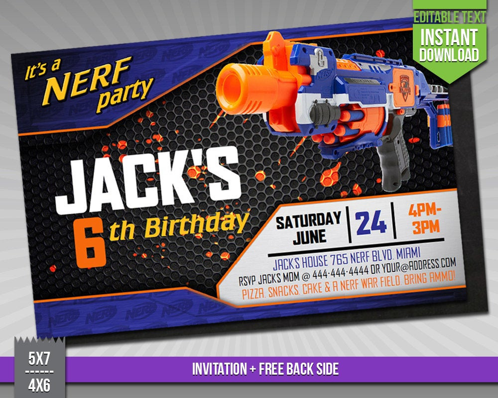 Best ideas about Nerf War Birthday Party Invitations . Save or Pin SALE OFF Nerf Invitation Nerf Wars Birthday by Now.