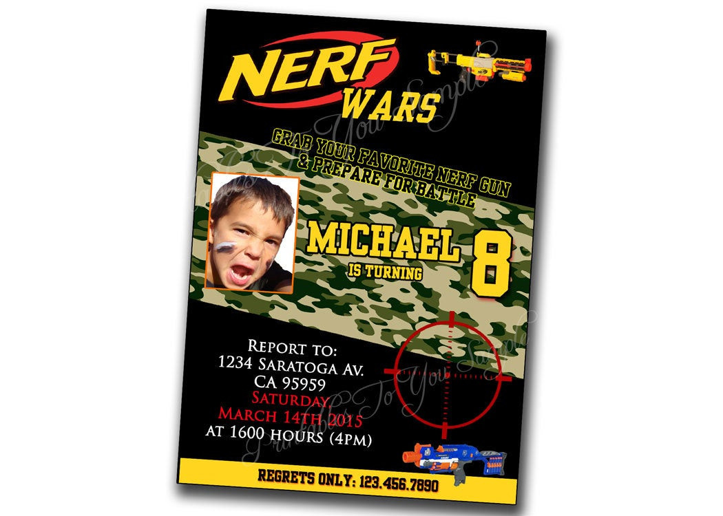 Best ideas about Nerf War Birthday Party Invitations . Save or Pin Nerf War Birthday Invitation Nerf Wars by PrintablesToYou Now.