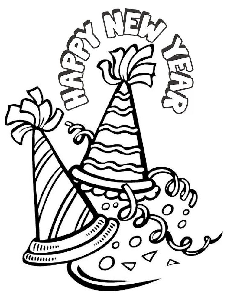 Best ideas about New Years Printable Coloring Sheets . Save or Pin Happy New Year Hat Coloring Pages Coloring Home Now.