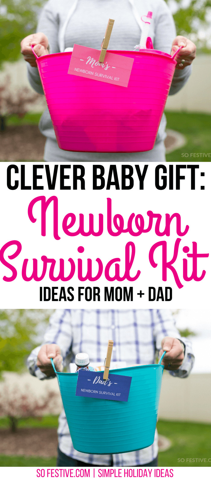 Best ideas about Newborn Baby Gift Ideas . Save or Pin Newborn Survival Kit Baby Shower Gift Idea So Festive Now.