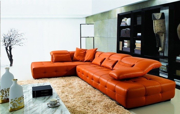 Best ideas about Orange Leather Sofa . Save or Pin Orange leather sofas Bright look with warm and Now.