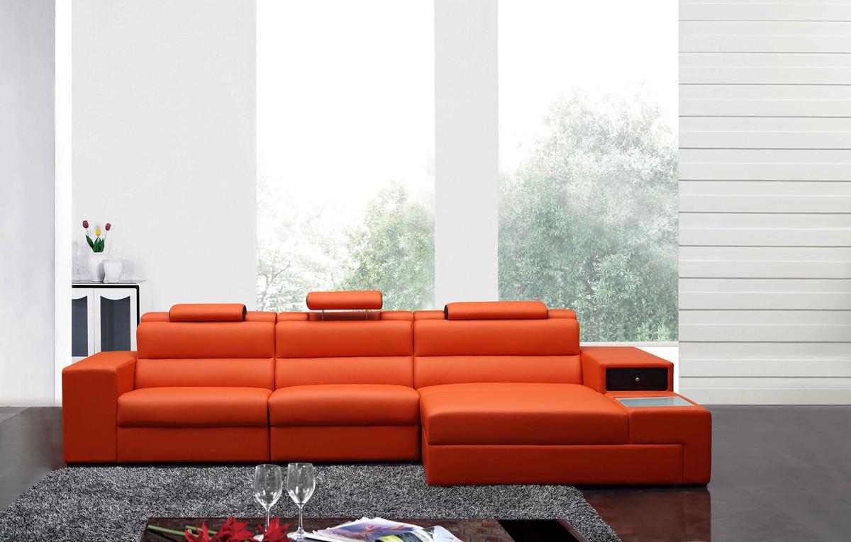Best ideas about Orange Leather Sofa . Save or Pin Polaris Mini Contemporary Orange Bonded Leather Sectional Sofa Now.