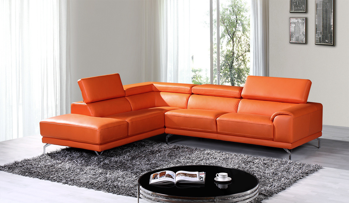 Best ideas about Orange Leather Sofa . Save or Pin Divani Casa Wisteria Modern Orange Leather Sectional Sofa Now.